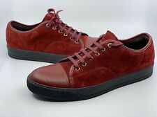 Lanvin Men's Cap Toe Burgundy Suede Leather Sneakers Size UK 10 US 11