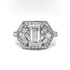 Moissanite Engagement Ring 925 Sterling Silver 2.66 Ct Near White Emerald Cut
