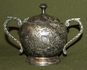 Antique silver plated floral engraved sugar bowl