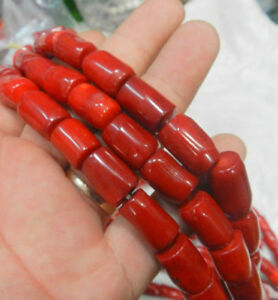 Natural 12x25mm Red Coral Gemstone Tube-shaped Loose Beads 15'' Strand