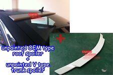 Unpainted M-BENZ 08~14 W204 C Sedan V trunk spoiler + OE type roof spoiler @US