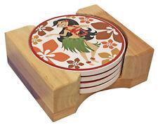 Hawaiian Ceramic Coasters Set Of 4 Drink Tableware Hula Tiki Bar Decor Kitchen N