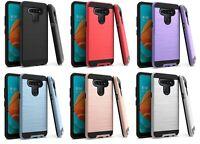 For LG Reflect L555DL / LG K51 K51S Metallic Slim Brush Hybrid Case Cover