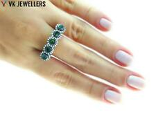 TURKISH JEWELRY ROSE GOLD STERLING 925 SILVER SZ 7.5 EMERALD RING HANDMADE R2047