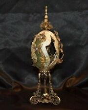 Intricate Vintage Hand Carved Decorated Real Ostrich Egg by Talented Artisan
