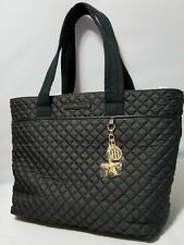 NWT $99 Tommy Hilfiger black quilted lightweight large Weekender, Work Tote Bag