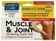 Family Care Muscle & Joint Pain Relief Gel Lasting Greaseless Non Scented 2 oz