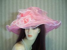 Ladies Light Pink Wedding Hat Victorian Hat Tea Party Hat Bridal Hat Church Race