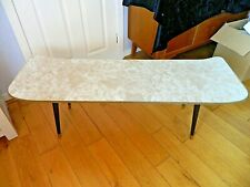Mid 20th Century Coffee Table Ski Shape Ends Marbled Look Top Dansette Legs