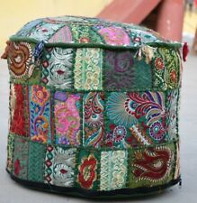 22'' Indian Patchwork Round Pouf Ottoman Cover Foot Stool Moroccan Pouffe Green
