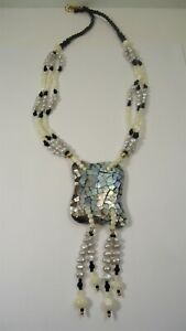 Lee Sands Wacky Friday Shell Inlaid Motif with tassel drops MOP & Pearl NK