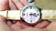 34mm Parnis white dial date adjust mineral crystal Quartz movement Women's watch