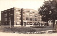 D4/ Forest Lake Minnesota Mn Real Photo RPPC Postcard c40s High School