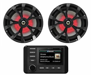 "KICKER KMC4 2-Zone Marine Digital Media Bluetooth Receiver+8"" Black LED Speakers"