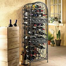 45 Bottle Wrought Iron Wine Jail Rack Liquor Cage Storage Home Dining Bar Decor