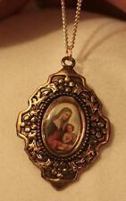 Dogwood Blossom Epoxy Medal Mary Madonna & Jesus Goldtone Cameo Medal Necklace