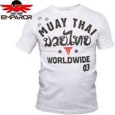 Throwdown Muay Thai t-shirt Stripes blanco thaï nak Muay Thai Camisa Caballero
