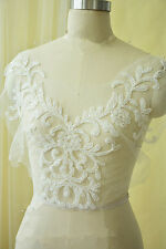 Stunning Bridal Beaded Lace Motif Floral Evening Dress Costume DIY Applique 1 PC