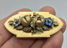 RARE LARGE 15CT GOLD ANTIQUE VICTORIAN 3D FRIUT & FLOWER ENAMEL LOCKET BROOCH