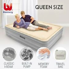 NEW Queen Size Bestway Memory Foam Mattress Bed with Built-In Electric Air Pump