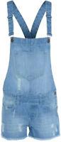 New Women's Ladies Frayed Denim Light Wash Shorts Dungaree Jumpsuit Play suit