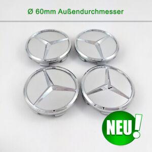 4stk für Mercedes-Benz 60mm Radnabenabdeckung Nabenkappen Felgendeckel Silber