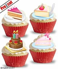 PRE-CUT BIRTHDAY CAKES II. EDIBLE WAFER PAPER CUP CAKE TOPPERS PARTY DECORATIONS