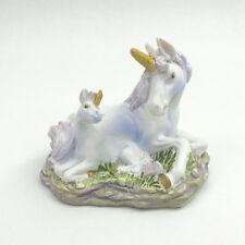 Mini Unicorn Figurine with Baby Purple Mane & Tail Mythical Fantasy Statue 1
