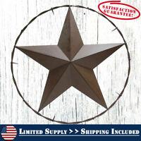 "Large Western 25"" Brown Metal TEXAS Barn Star Home Wall Outdoor Decor"