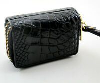 Black Crocodile Alligator Genuine Leather Women Key holder Coin purse Wallet