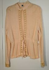 Vintage Peach Floral Embroidered Long Sleeve Cardigan Women's Size 16