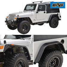 Black Front+Rear Fender Flares With LED Light for 97-06 Jeep Wrangler TJ/ LJ