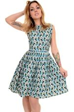 Run & Fly Ladies 50's 60's Retro Vintage Geometric Owls Pleated Swing Dress
