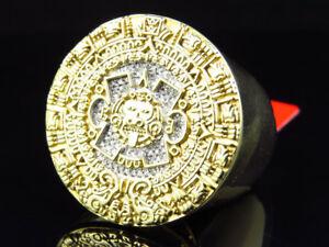 14k Yellow Gold Over Silver Mens 21mm Mayan Calendar Diamond Fashion Ring .25ct