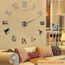 3d Stickers Argent Grand Horloge Montre Murale Acryliques R1 chiffre romain 120