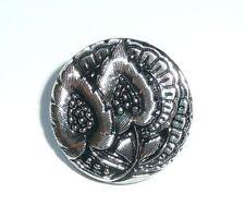 Czech Glass Flower Black w/ Silver Finish Shank Button 20mm  - Flower Button