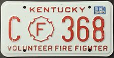Original plaque usa Kentucky FIREFIGHTER plaques D 'IMMATRICULATION targa