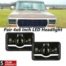 2x 4x6 Inch LED Headlight Hi-Lo Beam White&Red Halo Angel Eyes For Freightliner