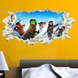 Lego Ninjago Wall Sticker Smashed Crack Kids Boys Bedroom Decal Gift Vinyl Art