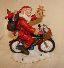 San Francisco Music Box Co Santa On Bike Figurine Here Comes Santa Clause Iob