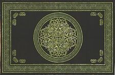 """Handmade"" Cotton Celtic Circle Wheel Of Life Tapestry Spread Full Green Black"