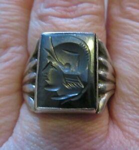 Vintage Silver Signet Ring with carved Hematite Centurion Intaglio Size Q  7.95g