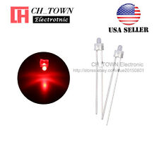 100pcs 2mm Diffused White Color Red Light Round Top LED Emitting Diodes USA