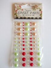 Dovecraft Sweet Paris Adhesive Pearls - red , pastel green , pink