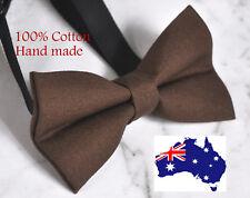 Men Women 100% Cotton MATTE BROWN Solid Craft Bow Tie Bowtie Wedding Party