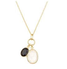 Argento Vivo Oval Onyx & Moonstone Pendant Necklace Women's 5608