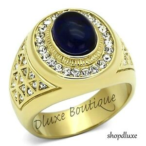 MEN'S DARK BLUE DOME STONE 14K GOLD PLATED STAINLESS STEEL RING SIZE 8-14