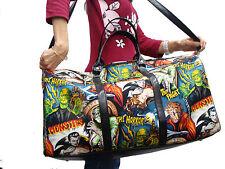 LARGE DUFFEL BAG  MESENGER BAG WITH  MONSTERS FRANKENSTIEN PATTERN  PURSE, NEW