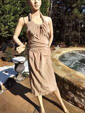 YSL Yves Saint Laurent Convertible taupe Dress Halter Silk Gown Sz 2 100% silk