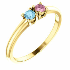 Birthstone Ring 14kt Yellow Gold / White Gold or Rose Gold Two Birthstones Gems